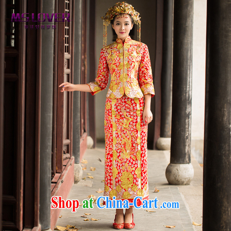 MSLover Chinese hi service dress uniform toast, dresses for brides marriage married Yi Su-wo service dragon robe costumes cheongsam dress Phoenix XH use 14 red XL
