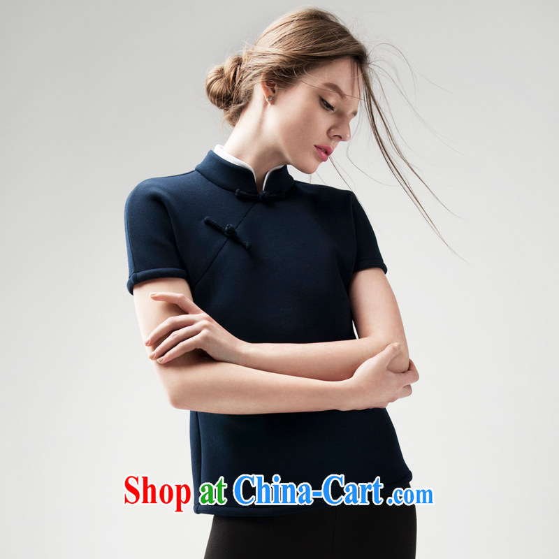 Fujing Qipai Tang 2015 spring short dresses T-shirt Chinese improved Tang women, a National wind retro female warm thick short-sleeved new Han-a-mouth-tie arts blue S _small_