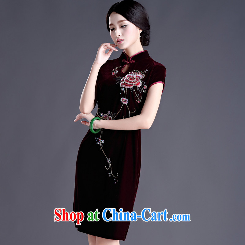 The cross-sectoral shame Elizabeth spend good Kim wool Chinese wedding dresses mother in her old fashioned improved dress spring dresses skirts H D maroon 2 XL