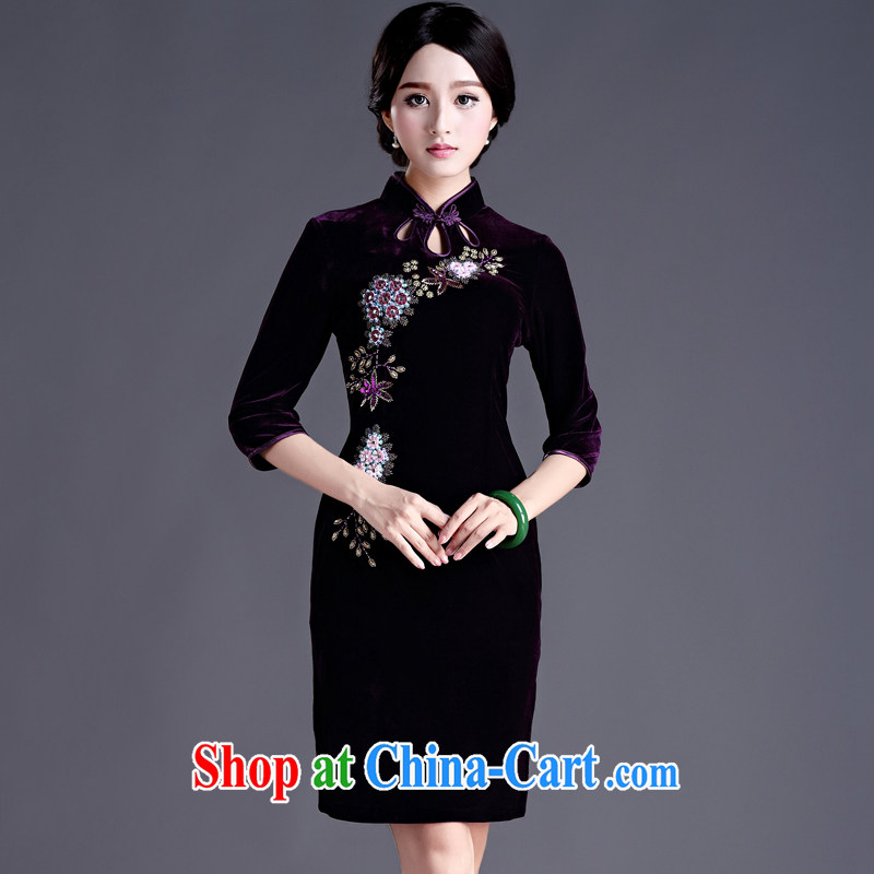 The Yee-sha Zi Teng spend autumn and winter with stylish and improvement in antique cuff Pearl staple wool 7 cuff wedding cheongsam dress cheongsam dress H D purple 3XL