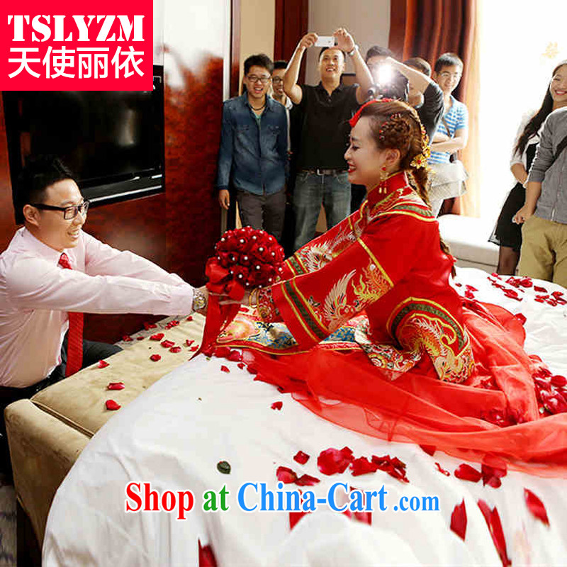Tslyzm Sau Wo serving Chinese style wedding dresses wedding dress Phoenix - Use female bride classic bride long-sleeved clothing in ancient times the cheongsam dress red XS
