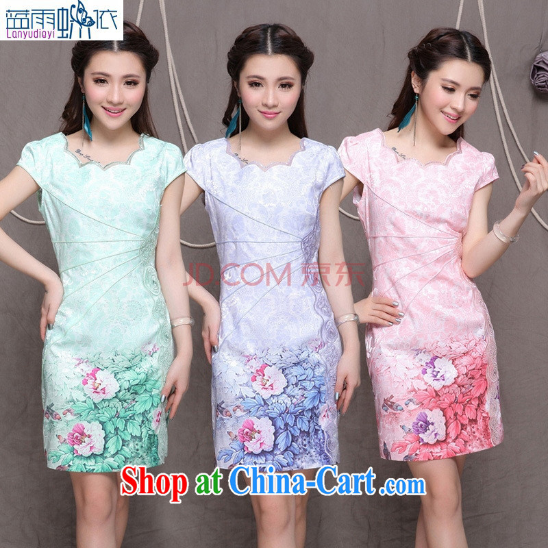 Ya-ting 2014 high-end Ethnic Wind stylish Chinese qipao dress retro beauty graphics thin dresses better quality special pink M