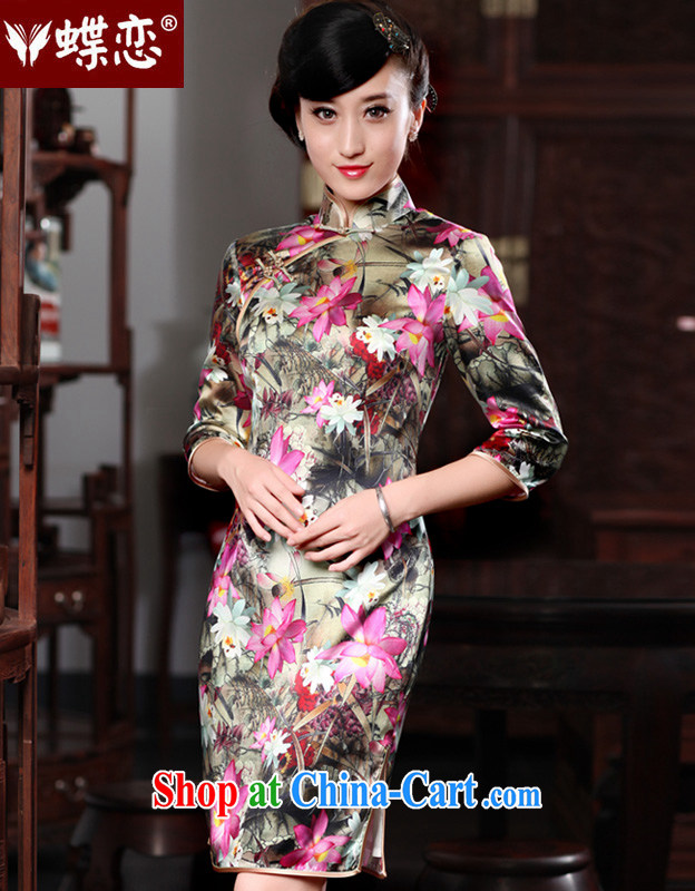 Butterfly Lovers 2015 spring new improved stylish dresses dresses retro 7 cuff silk Chinese qipao as XXL
