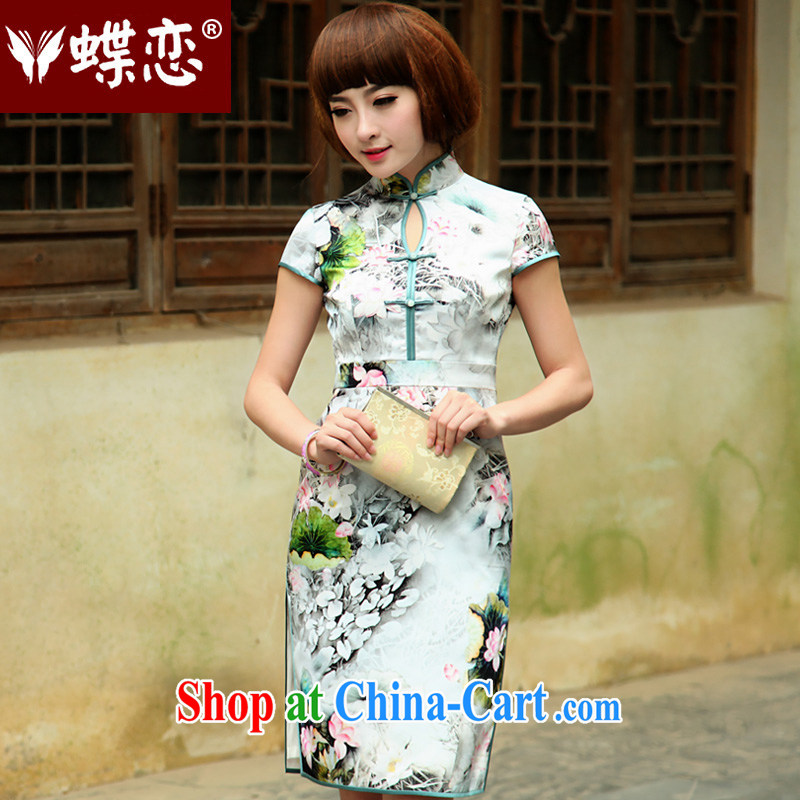 Butterfly Lovers 2015 spring new stylish improved short-sleeve cheongsam dress style retro daily Silk Cheongsam 49,185 figure XXL
