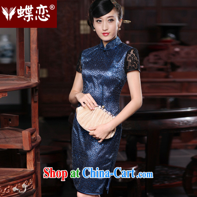 Butterfly Lovers 2015 spring new stylish improved stitching qipao dresses daily cultivating short Silk Cheongsam 49,187 dark blue XXXL