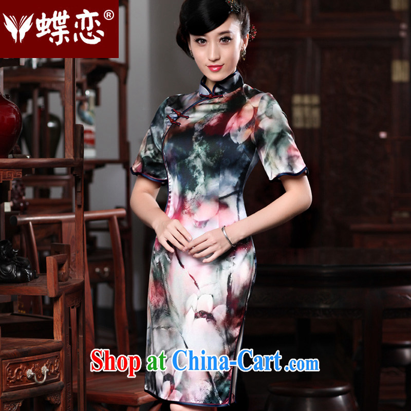Butterfly Lovers 2015 spring new improved style does not rule cuff edge dresses daily dress style short-sleeved qipao 49,186 red XXXL