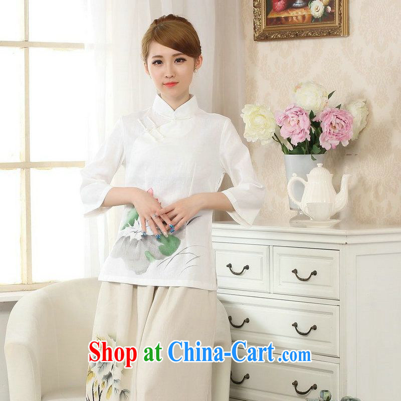 Allow Ms. Jing Tang Women's clothes summer T-shirt, cotton for the hand-painted Chinese Han-female improved Tang in white cuff XL