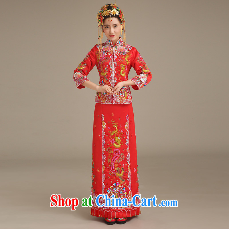 Code Bethlehem bride spring 2015, bridal dresses show groups serving Chinese Antique wedding service long-sleeved dresses use phoenix married Yi Su-wo serving two-piece red XL