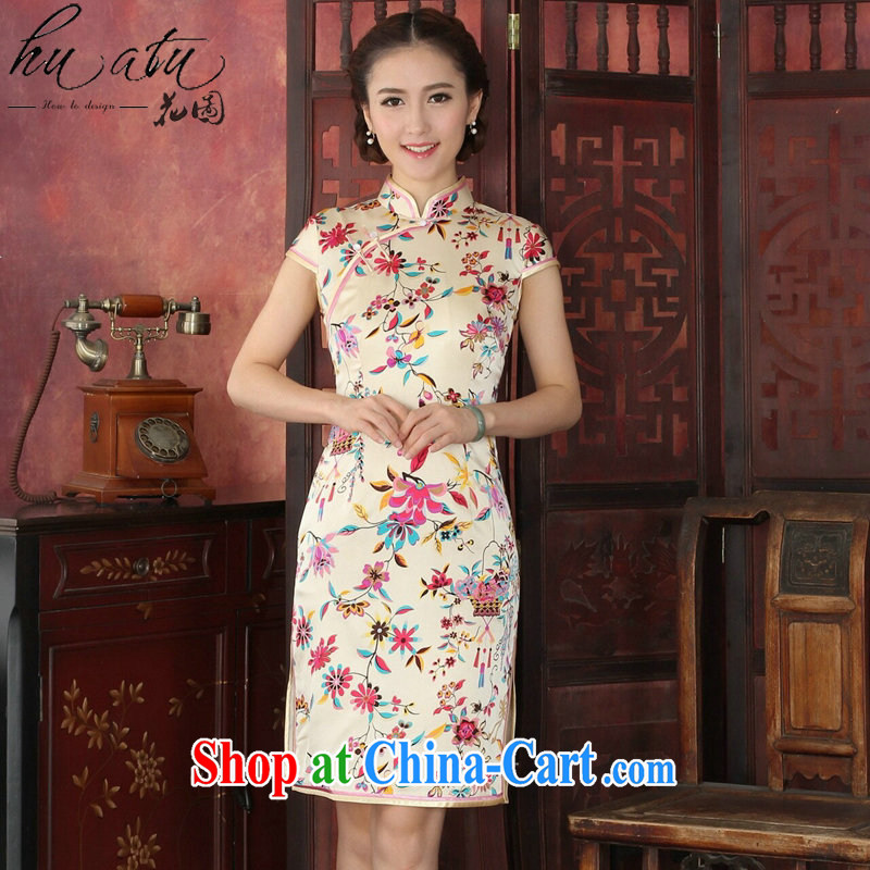 Take the cheongsam dress high-end European and American style sauna Silk Cheongsam elegant daily banquet Silk Cheongsam dress annual 1033 #toner suit 2 XL