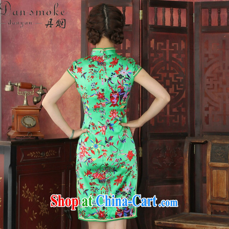 Dan smoke cheongsam dress high-end European and American style sauna Silk Cheongsam elegant daily banquet Silk Cheongsam dress annual 1035 #green 2 XL, Bin Laden smoke, shopping on the Internet