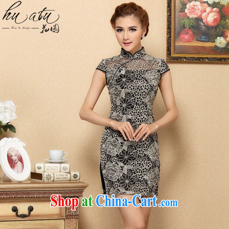 Take the cheongsam dress Chinese improved legislative style lace cheongsam dress high-end elegant lace improved banquet cheongsam dress such as the color 2 XL