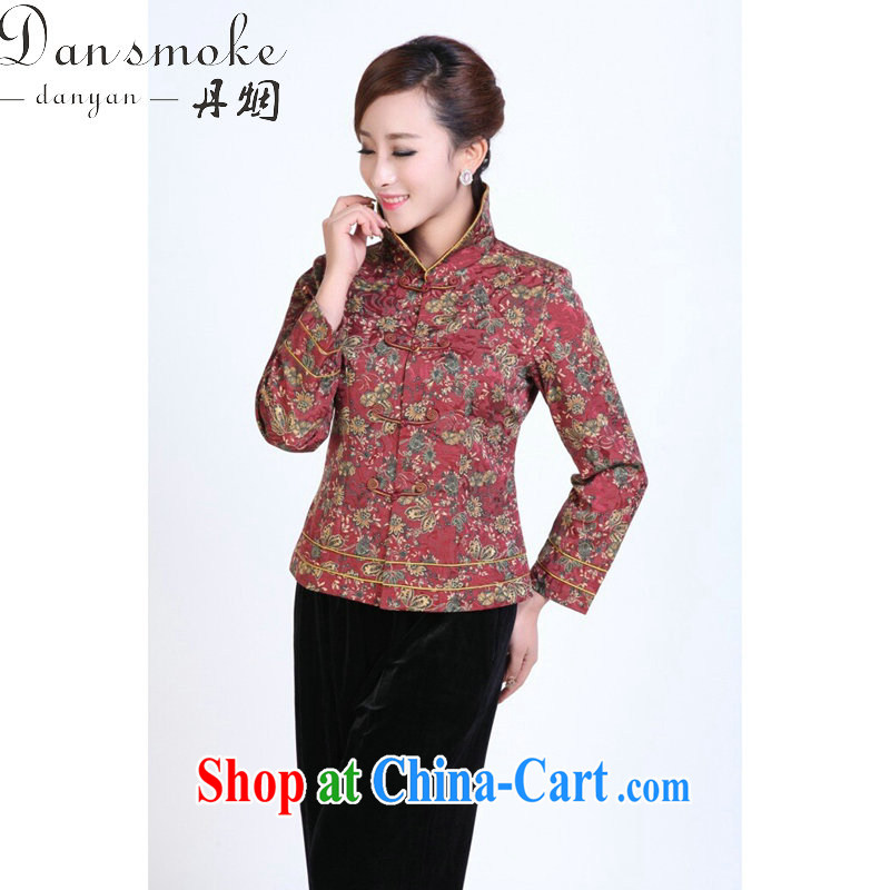 Bin Laden smoke fall and winter Tang Women's clothes thin mother Chinese improved, for Chinese-buckle clothing clothing Chinese T-shirt such as the color 4 XL