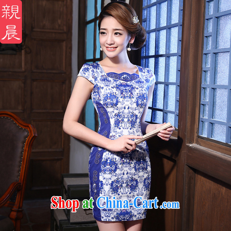 The pro-am 2015 as soon as possible new summer daily improved stylish blue and white porcelain retro beauty dresses cheongsam dress blue and white porcelain L - waist 73 CM
