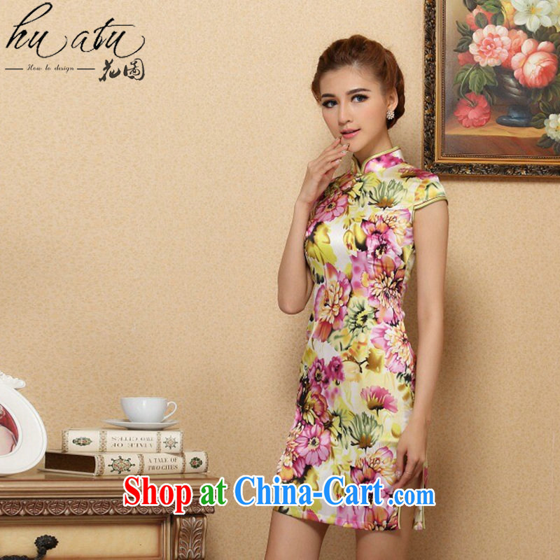 Take the female cheongsam Chinese contemporary Europe and small floral sauna Silk Cheongsam elegant and noble, for Silk Cheongsam annual figure color 2 XL