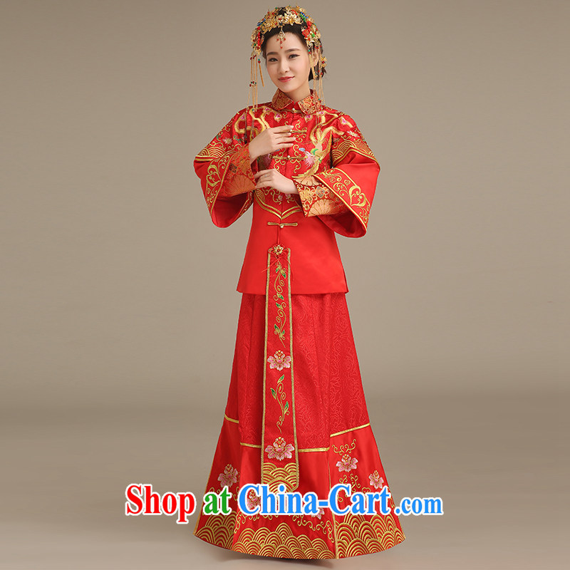 Code Hang Seng bridal bridal Phoenix use Su-wo service Chinese Antique long cheongsam 2014 new stylish bows service entered marriage Yi Su-wo service red L