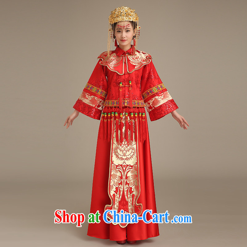 Code Hang Seng bride spring 2015, bride of Phoenix Chinese Soo Wo service retro long-sleeved dresses and stylish entered marriage toast clothing serving the 5 Bok-su Wo service red L
