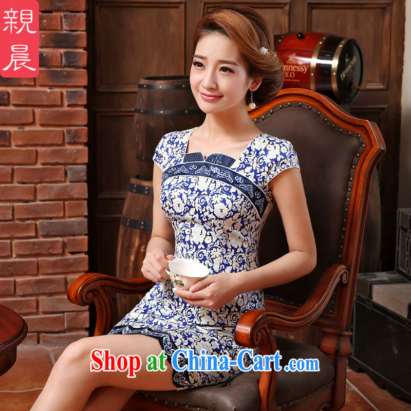 pro-am 2015 new spring and summer day with blue and white porcelain improved retro beauty short cheongsam dress dress blue and white porcelain 2 XL - waist 81 CM