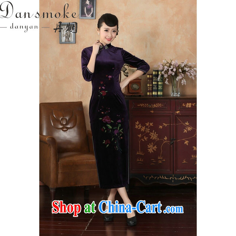 Bin Laden smoke-free fall and winter cheongsam dress Chinese, Chinese collar-stretch-velvet cheongsam 7 cuff dress - B XL 3