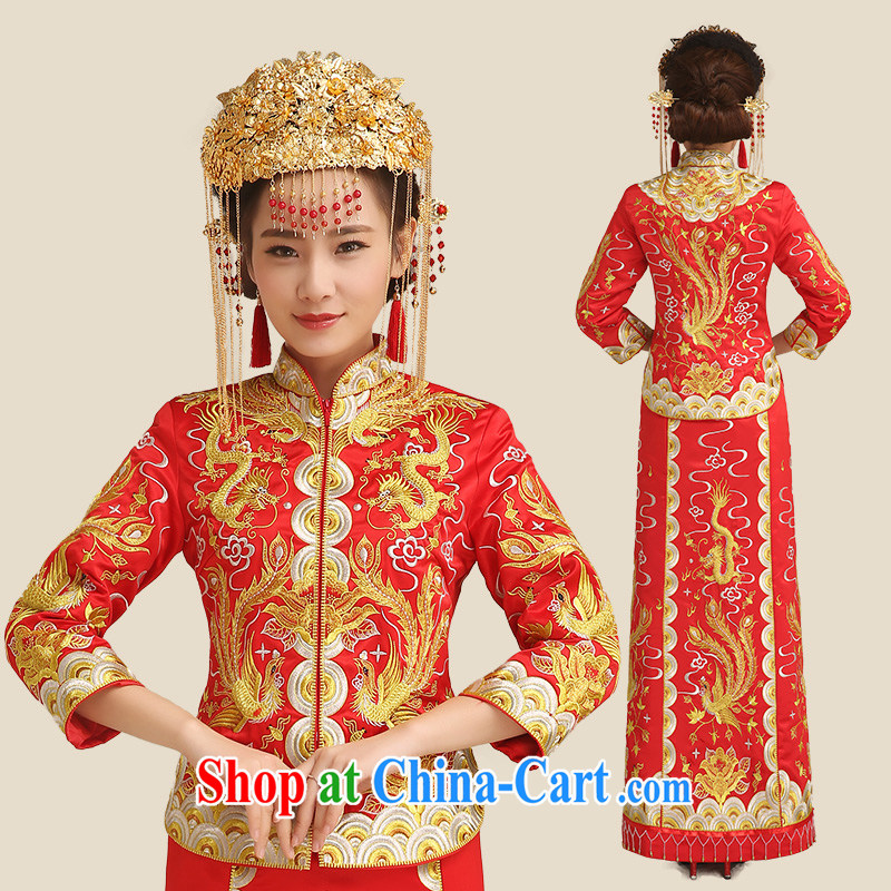 Code hang bridal bridal toast clothing spring 2015, use phoenix stylish red long-sleeved Chinese qipao retro-su Wo service Chinese big 5 well married clothing cheongsam red XL