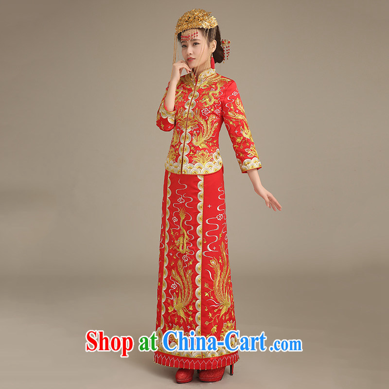 Code Hang Seng bridal bridal toast clothing spring 2015, Phoenix and stylish red long-sleeved Chinese qipao retro-su wo service Chinese big 5 well married clothing cheongsam red XL, and constant bride, shopping on the Internet
