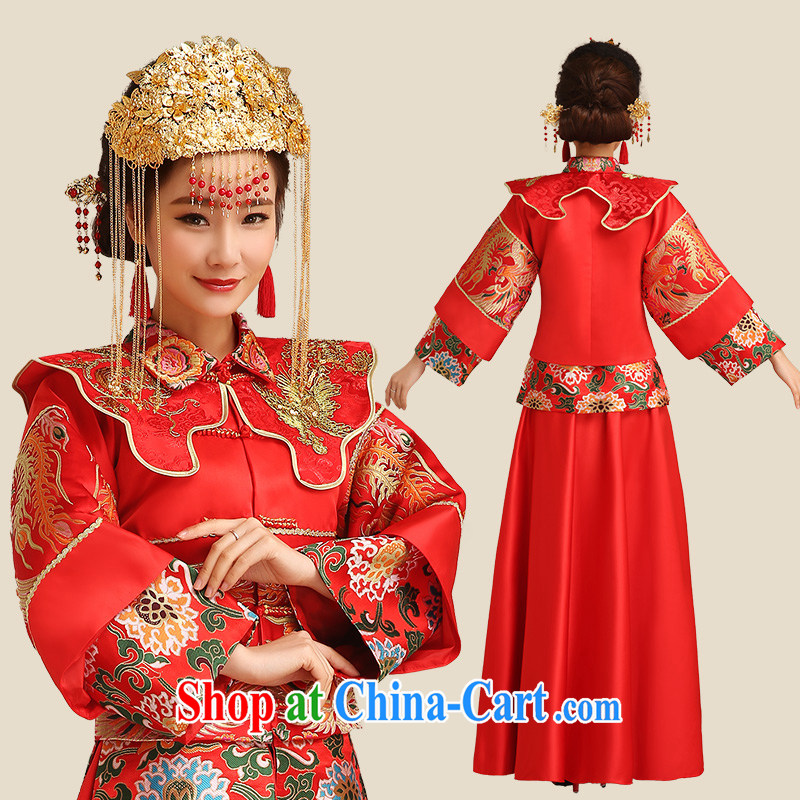 Code hang bridal 2015 new bride of Phoenix red bridal gown Sau Wo service 5 well stylish bows serving Chinese Antique long-sleeved red outfit L