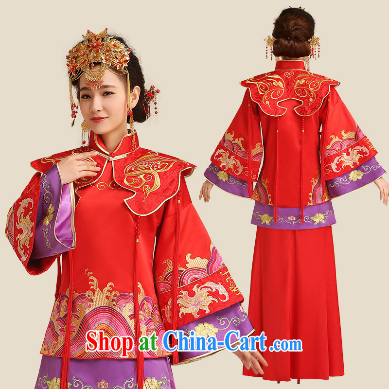 Code hang bridal bridal show reel service red bows service 2015 new stylish long-sleeved Phoenix use Chinese Antique wedding dresses 5 well Phoenix use red L