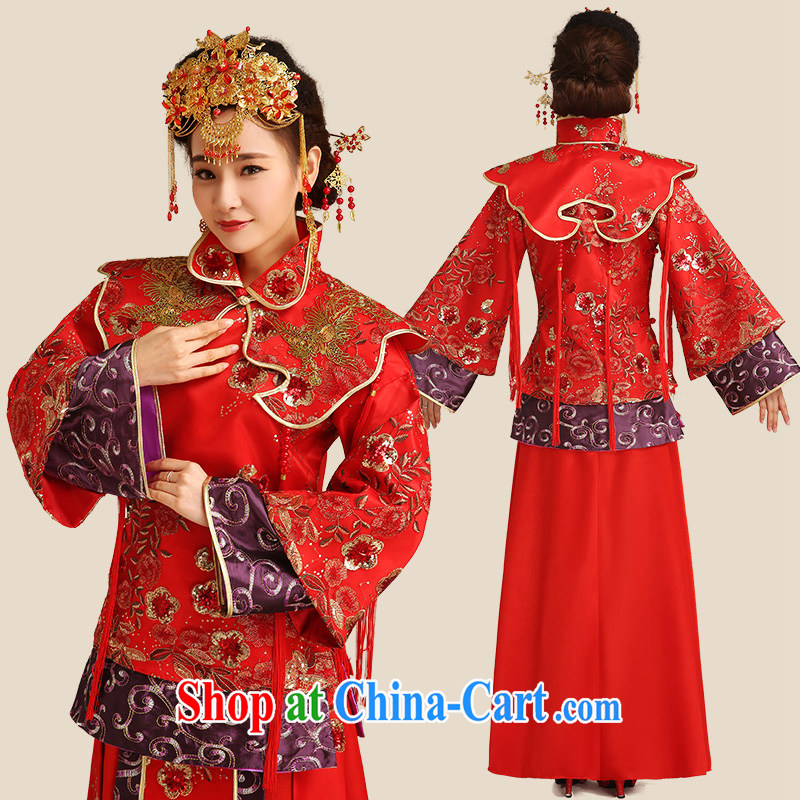 Code Hang Seng bride spring 2015 toast, serving red cheongsam dress Soo wo service 5 well-being of Phoenix cheongsam Chinese long antique dresses two piece red L