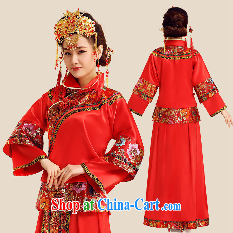 Code Hang Seng bride spring 2015, bride of Phoenix Chinese wedding dress red wedding toast serving long-sleeved long retro 5 Bok-su Wo clothing cheongsam red XL