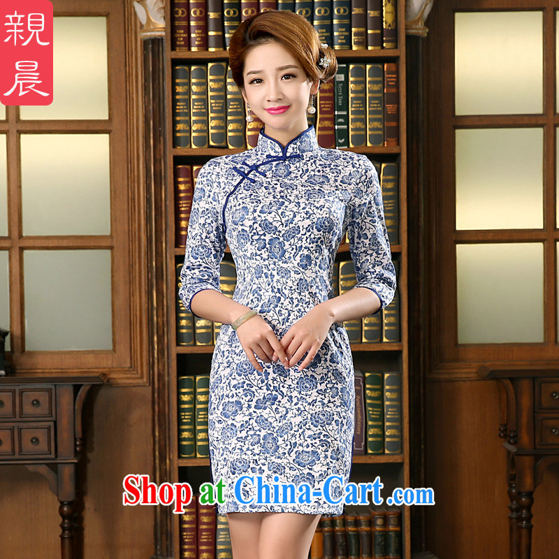 The pro-am 2015 as soon as possible new summer traditional antique jacquard cotton short beauty blue and white porcelain dresses cheongsam blue and white porcelain L - waist 73 CM