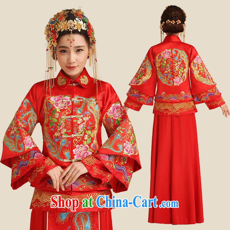 Code hang bridal bridal show reel service dresses red Chinese dress uniform toast spring 2015 long sleek new retro 5 well Phoenix and two-piece red L