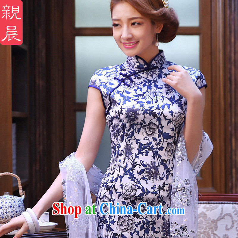 The pro-am 2015 as soon as possible new summer blue and white porcelain daily retro improved stylish short cheongsam dress dress blue and white porcelain M - waist 70 CM