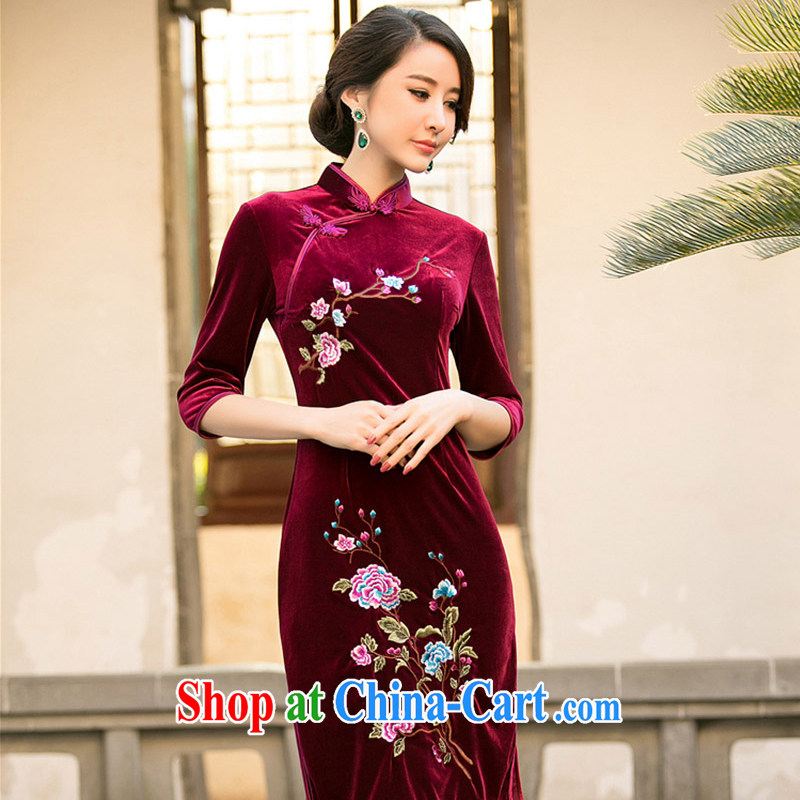 The cheer her flower Chinese Antique improved embroidered Silk Velvet cheongsam dress code the dress flower embroidery cheongsam dress ZA 081 maroon 3 XL