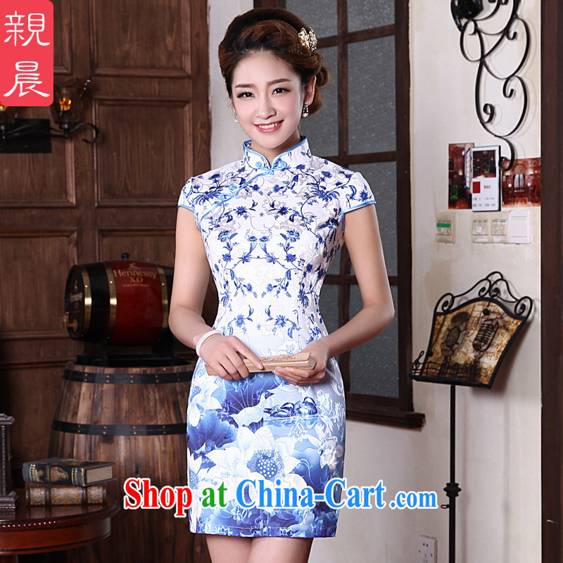 pro-am 2015 new spring and summer with daily short Ethnic Wind antique traditional blue and white porcelain cheongsam dress dress blue and white porcelain M - waist 71 CM