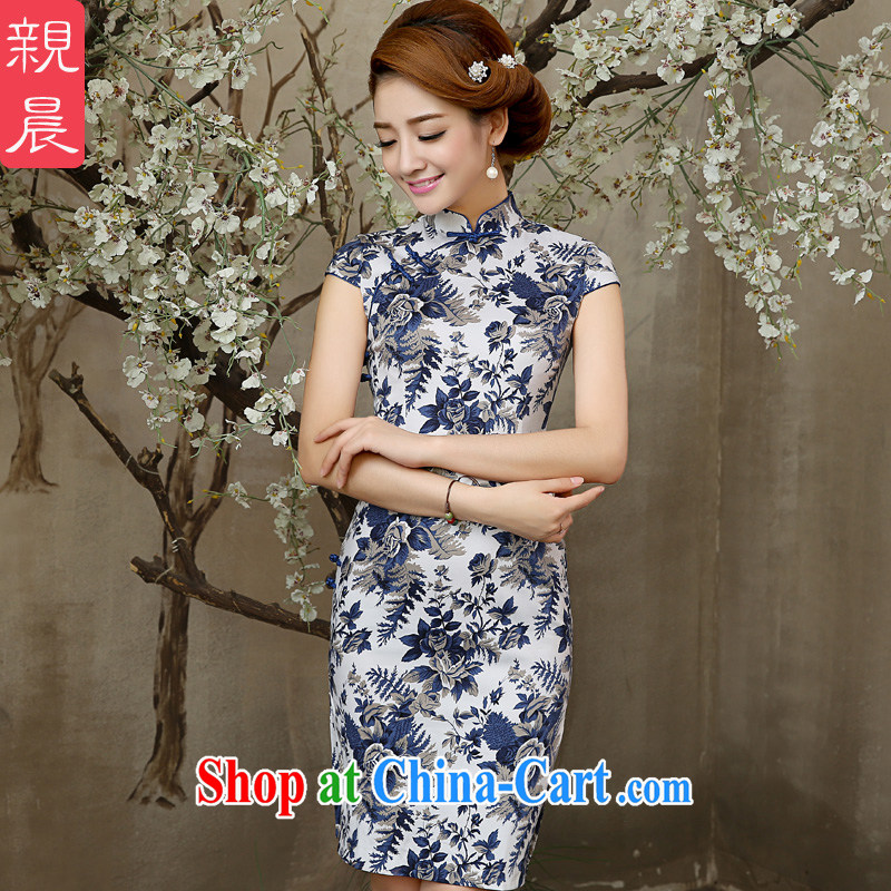 The pro-am 2015 as soon as possible new summer, short-day antique blue and white porcelain cheongsam dress Ethnic Wind cultivating a dress or skirt blue and white porcelain M - waist 70 CM
