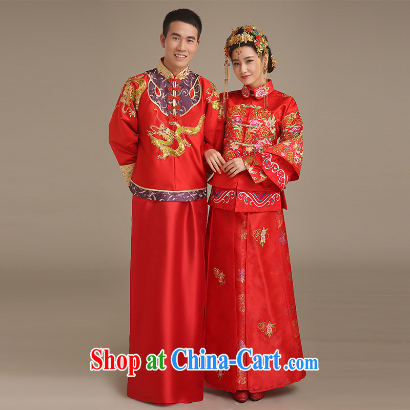 Code Hang Seng bride spring 2015 New Men's Chinese wedding dress uniform costumes show reel service red groom use phoenix men married cheongsam dress red L