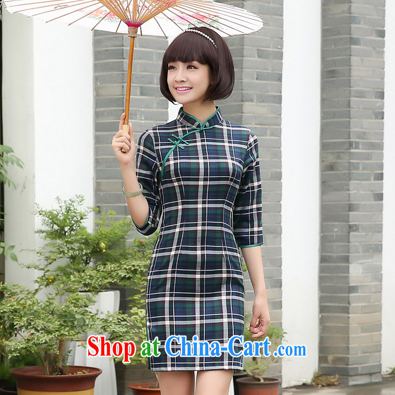 The pro-am 2015 as soon as possible grid autumn new traditional retro daily short sleeves in cultivating dresses qipao 7 sub-cuff 2XL - waist 80 cm, the pro-am, shopping on the Internet