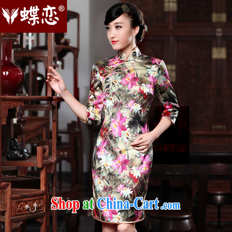 Butterfly Lovers crayons to 2015 spring new stylish improved temperament retro 7 cuff Silk Cheongsam 49,188 figure XXL