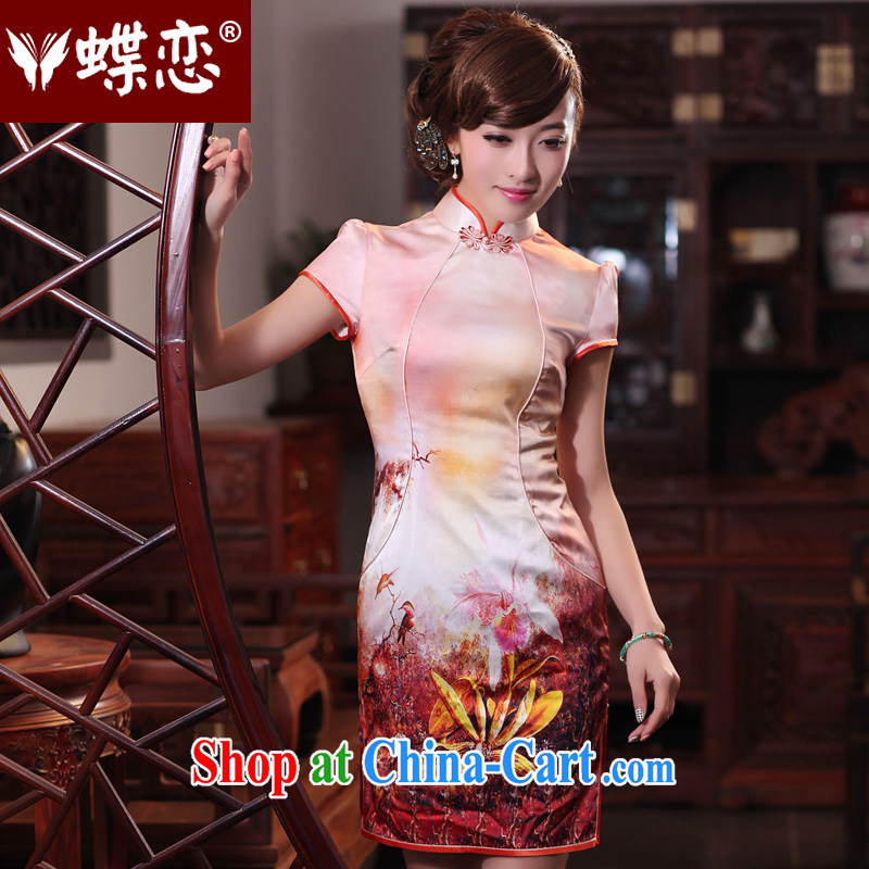 Butterfly Love Song on 2015 spring new stylish improved cheongsam dress retro short Silk Cheongsam 49,195 figure XXL