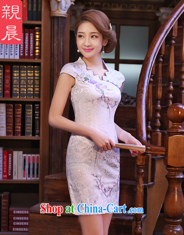 The pro-am 2015 as soon as possible new summer day retro improved stylish short cheongsam beauty skirt dresses white M - 40