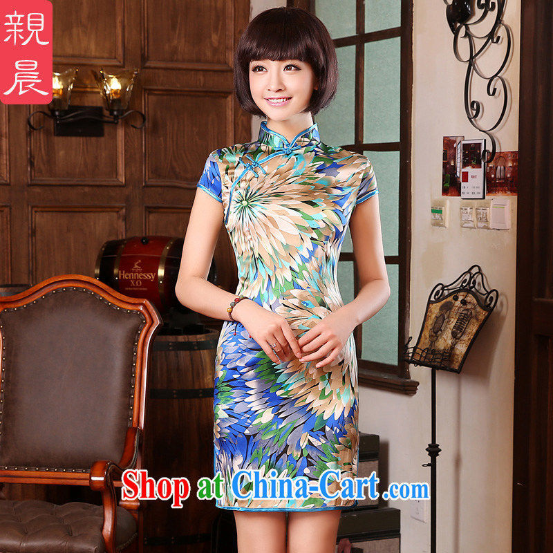 pro-am 2015 daily new summer improved sauna silk short, cultivating retro upscale Silk Cheongsam dress multi-colored fine leaf flower M - waist 73 CM