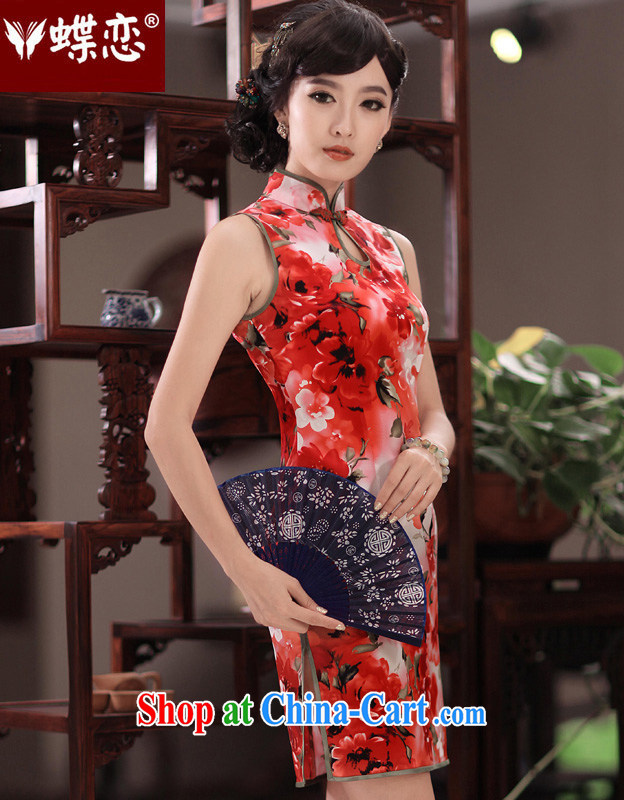 Butterfly Lovers ferry erotic films 2015 spring new short sleeveless improved stylish Silk Cheongsam 49,194 figure XXL
