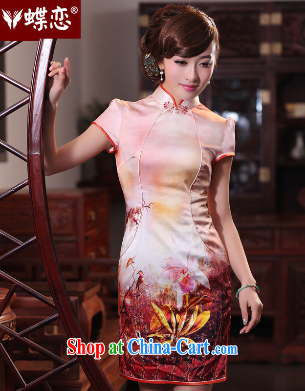 Butterfly Love Song on 2015 spring new retro short dresses stylish improved cheongsam Silk Cheongsam 49,195 red XXL