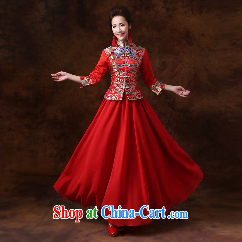 Cheng Kejie MIA toast clothing dresses 2015 new long-sleeved Sau Wo service Chinese brides improved retro bridal wedding dress red XS