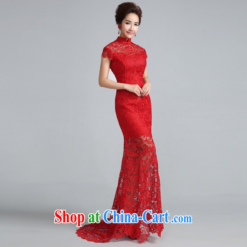 Cheng Kejie MIA dresses new 2015 toast Service Bridal Stylish retro red lace back exposed at Merlion wedding dress red tail 30 CM L