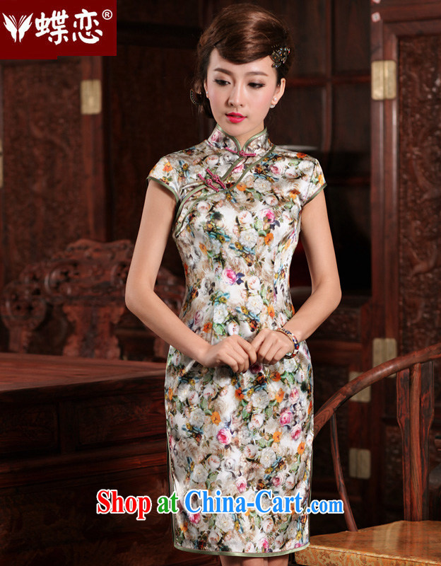 Butterfly Lovers Jiafeng Fairview Park, dream-2015 spring new improved Stylish retro short, high quality Silk Cheongsam 49,198 figure XXL