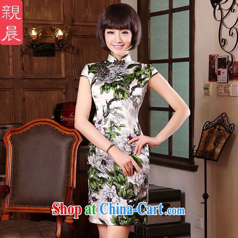 pro-am 2015 new spring and summer with high quality silk daily retro improved stylish sauna Silk Cheongsam dress dress white Peony S - waist 67 CM