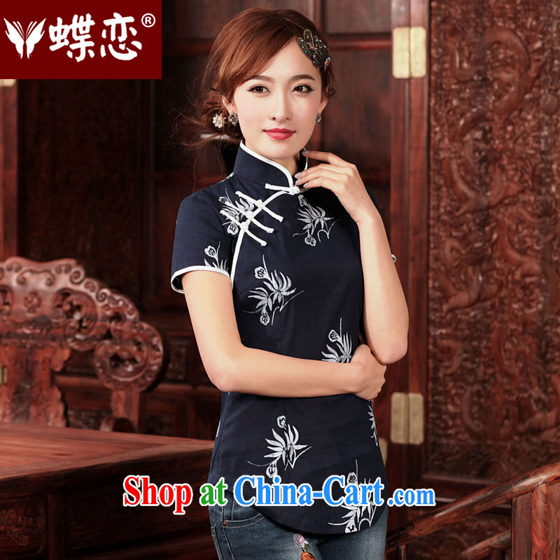 Butterfly Lovers chat the poems 2015 spring new short traditional Hmong batik cotton the cheongsam shirt 49,201 Indigo XXL
