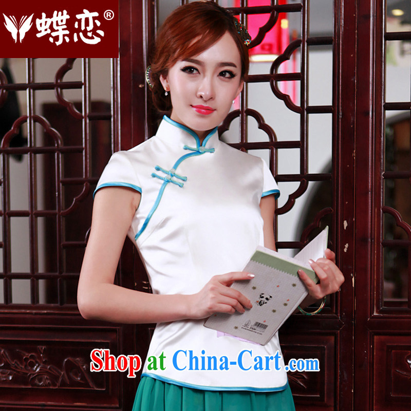 Butterfly Lovers the dream 1000 the 2015 spring new heavy silk antique Chinese T-shirt short cheongsam shirt 49,203 figure XXL