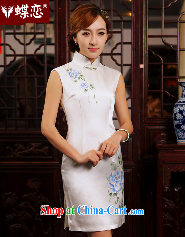 Butterfly Lovers lament recalling flower 2015 spring new retro upscale hand-painted modern improved heavy Silk Cheongsam 49,204 figure XXL