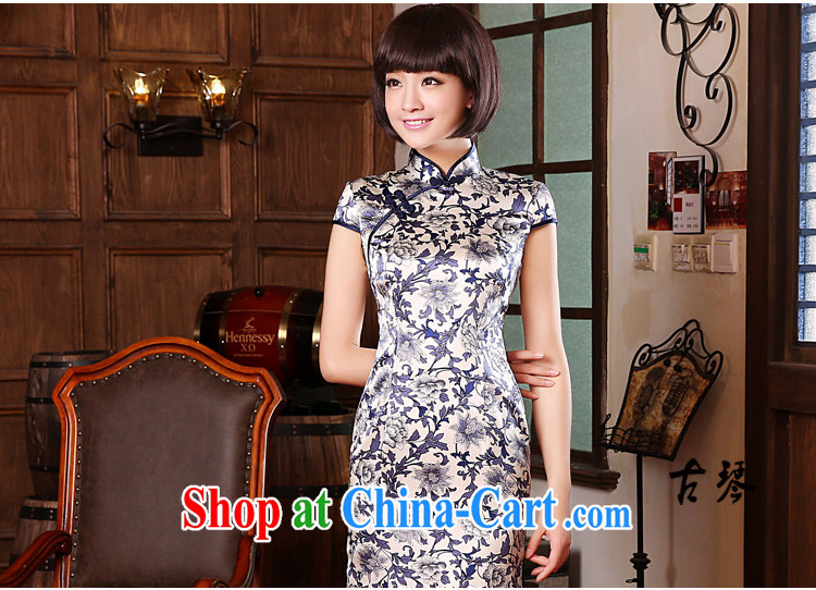 pro-am 2015 new summer upscale silk sauna silk blue and white porcelain retro short improved cheongsam dress dress blue and white porcelain M - waist 70 CM pictures, price, brand platters! Elections are good character, the national distribution, so why buy now enjoy more preferential! Health